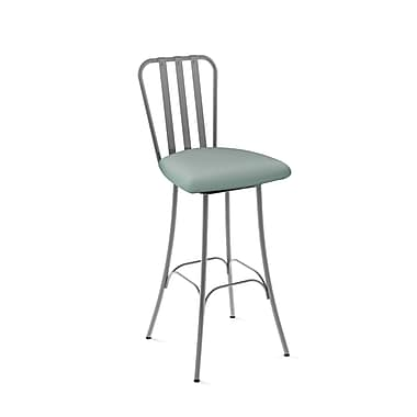 Amisco Club Grey Metal Barstool with Light Aqua Blue Polyurethane Seat