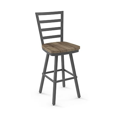 Amisco Prescot Dark Grey Metal Barstool with Beige Wood Seat