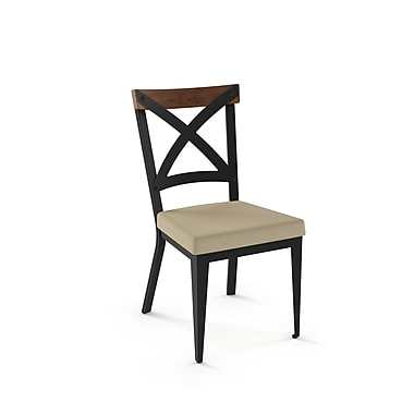 Amisco Snyder Black Metal Chair with Brown Wooden Accent Beige Fabric Seat