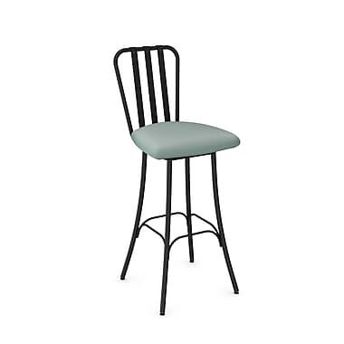 Amisco Club Black Metal Barstool with Light Aqua Blue Polyurethane Seat