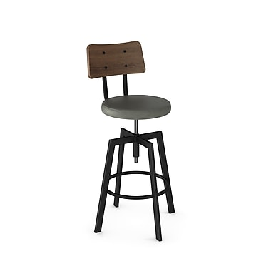 Amisco – Tabouret réglable en métal noir Symmetry avec dossier en bois brun et siège en polyuréthane gris