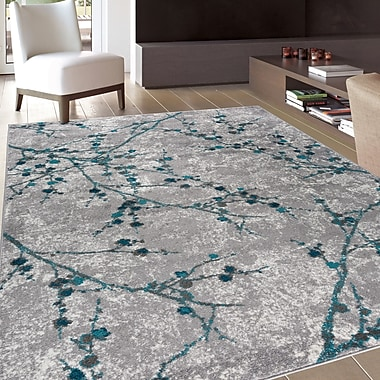 Ophelia & Co. Ev Transitional Branches Soft Gray Area Rug; Rectangle 5' x 8'