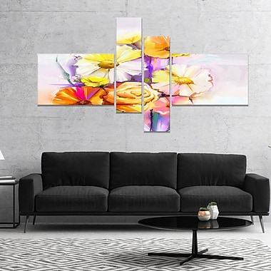 East Urban Home 'Yellow Pink Gerbera and Rose Bouquet' Graphic Art Print Multi-Piece Image on Canvas