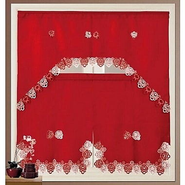 The Holiday Aisle Royal Kitchen Curtain Set; Red