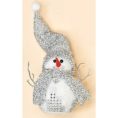 The Holiday Aisle Standing Snowman w/ Silver Glitter Hat and Scarf; 11'' H x 5'' W x 3.5'' D