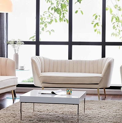 Everly Quinn Canh Loveseat; Cream