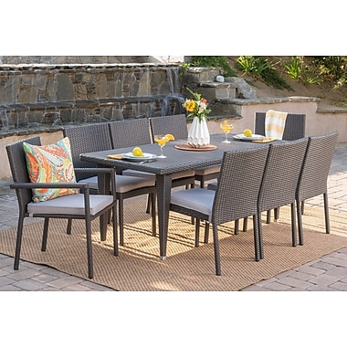 Latitude Run Schnell Wicker 9 Piece Dining Set w/ Cushions