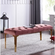 Mercer41  Willaims Metal Upholstered Bench; Pink