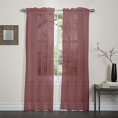 Harriet Bee Audubon Solid Sheer Rod Pocket Single Curtain Panel; Burgundy