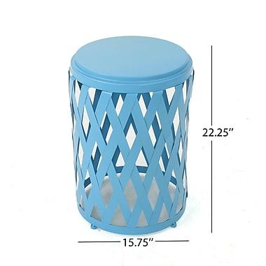 Varick Gallery Ramiro Indoor Iron End Table; Blue