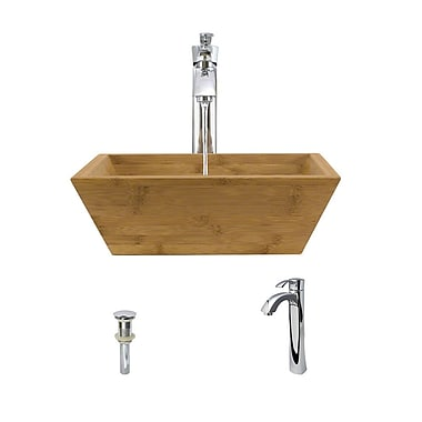 MRDirect Bamboo Square Vessel Bathroom Sink; Chrome