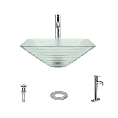 MRDirect Tiered Glass Square Vessel Bathroom Sink; Chrome