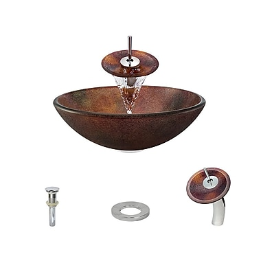 MRDirect Frost Glass Circular Vessel Bathroom Sink; Chrome
