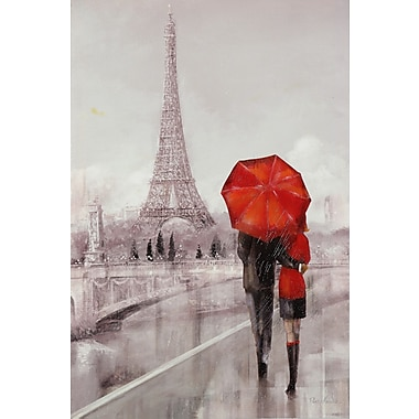Winston Porter 'Moden Couple in Paris' Framed Print on Painting; 24'' H x 36'' W x 1.5'' D