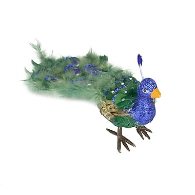 The Holiday Aisle Regal Peacock Closed Tail Feathers Figure; 6'' H x 19'' W x 7'' D