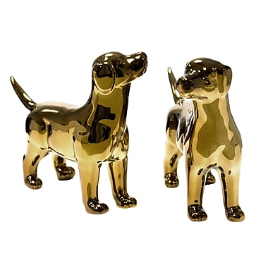 Red Barrel Studio Correa 2 Piece Ceramic Dog D cor Set; Gold