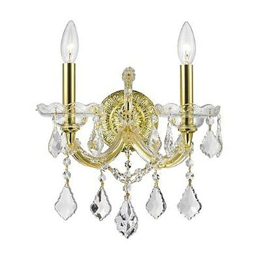 Rosdorf Park Cheetham 2-Light Clear Crystal Candle Wall Sconce; Gold