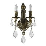Astoria Grand Weisser 2-Light Clear Crystal Aluminum Frame Wall Sconce; Antique Bronze