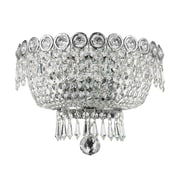 Rosdorf Park Chatteris 2-Light Clear Crystal Empire Wall Sconce w/ Hardwired; Chrome