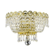 Rosdorf Park Chatteris 2-Light Clear Crystal Empire Wall Sconce w/ Hardwired; Gold