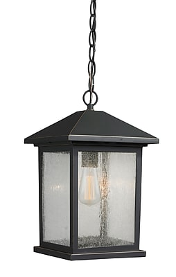 17 Stories Leroy 1-Light Outdoor Hanging Lantern; 13.5'' H x 8'' W WYF078282125462