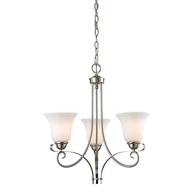 Fleur De Lis Living Malinda 3-Light Shaded Chandelier; Brushed Nickel/White