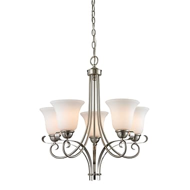 Fleur De Lis Living Malinda 5-Light Shaded Chandelier; Brushed Nickel/White