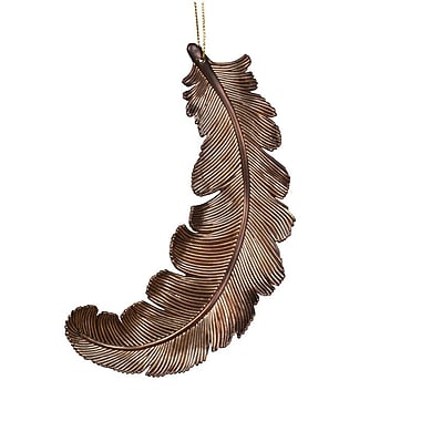 The Holiday Aisle Feather Shatterproof Christmas Ornament (Set of 6); Chocolate Brown