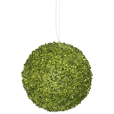 The Holiday Aisle Sequin and Glitter Drenched Christmas Ball Ornament (Set of 6); Lime Green