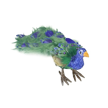 The Holiday Aisle Regal Peacock Closed Tail Feathers Figure; 5.25'' H x 13'' W x 4.5'' D