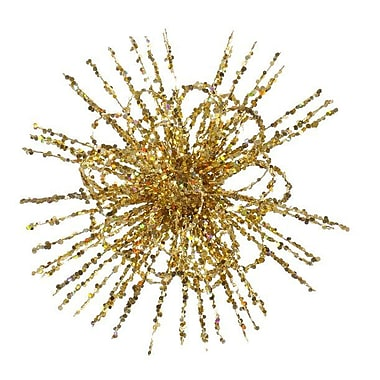 The Holiday Aisle Glitter Flower Blossom Sequined Christmas Ornament; Gold