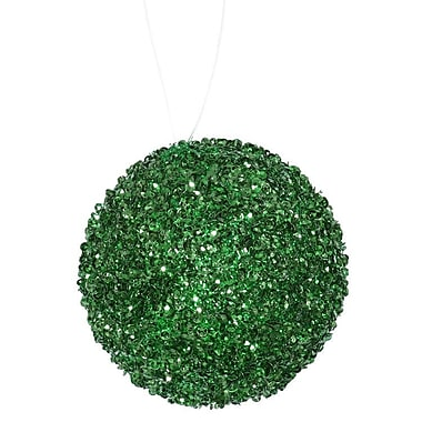 The Holiday Aisle Sequin and Glitter Drenched Christmas Ball Ornament (Set of 6); Emerald Green