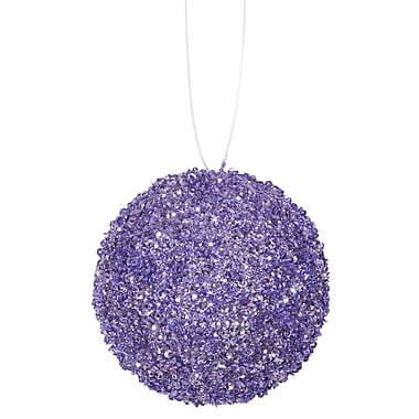 The Holiday Aisle Sequin and Glitter Drenched Christmas Ball Ornament (Set of 6); Lavender Purple