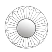 Mercer41 Griffin Geometric Circular Wall Accent Mirror; Silver