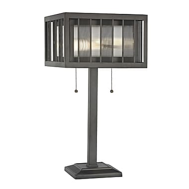 Z-Lite Meridional Table Lamp Light, Bronze, Bronze Outside; Clear Reeded Inside Glass + Steel Shade (Z14-58TL)