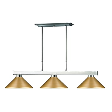 Z-Lite Cobalt Island/Billiard Light, Brushed Nickel, Satin Gold Steel Shade (152BN-MSG)