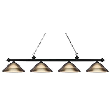Z-Lite Riviera Island/Billiard Light, Black, Antique Brass Steel Shade (200-4MB-SAB)