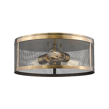 Z-Lite Meshsmith Flush Mount Light, Bronze, Natural Brass Steel Shade (331F14-NB)