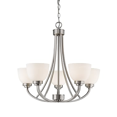 Z-Lite Ashton Chandelier Light, Brushed Nickel, Matte Opal Glass Shade (443-5-BN)