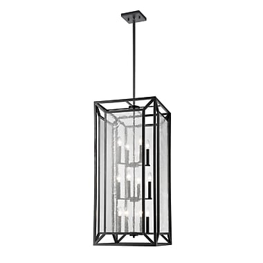 Z-Lite Braum Pendant Light, Bronze, Clear Seedy Glass Shade (6005-12BRZ)