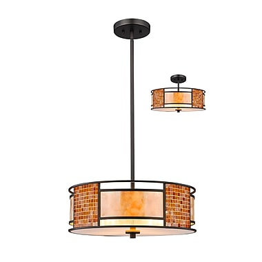 Z-Lite Parkwood Pendant Light, Bronze, White Mica + Tile Glass Shade (Z18-55P-C)