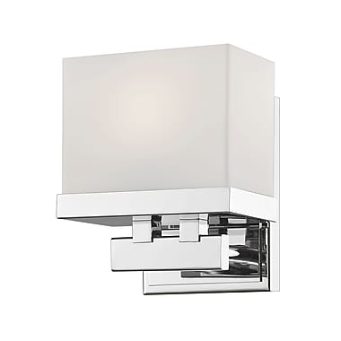 Z-Lite Rivulet Vanity Light, Chrome, Clear Outside; Matte Opal Inside Glass Shade (1919-1S-CH-LED)