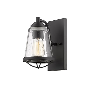 Z-Lite Mariner Wall Sconce Light, Bronze, Clear Seedy Glass Shade (444-1S-BRZ)