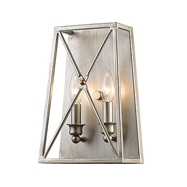 Z-Lite Tressle Wall Sconce Light, Satin Nickel, Antique Silver Steel Shade (447-2S-AS)