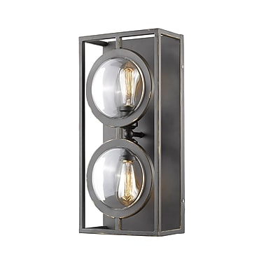 Z-Lite Port Wall Sconce Light, Bronze, Olde Bronze Steel Shade (448-2S-OB)