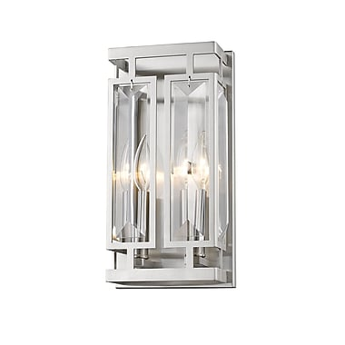 Z-Lite Mersesse Wall Sconce Light, Brushed Nickel, Clear Crystal Shade (6006-2S-BN)