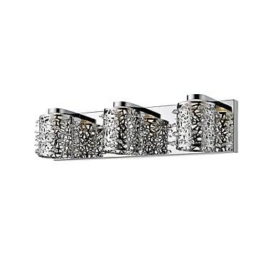 Z-Lite Fortuna Vanity Light, Chrome, Chrome + Crystal Crystal + Steel Shade (906-3V-LED)