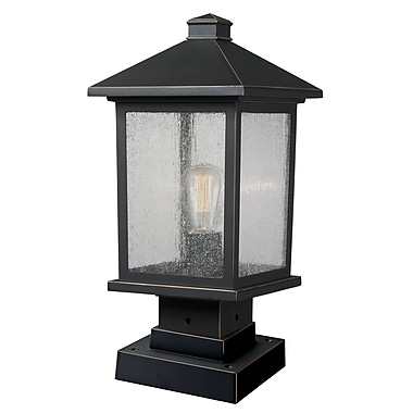 Z-Lite Portland Outdoor Post Light, Bronze, Clear Seedy Glass Shade (531PHMS-SQPM-ORB)