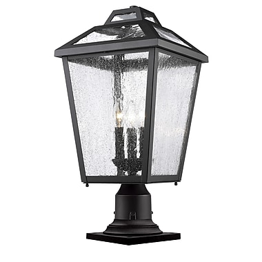 Z-Lite Bayland Outdoor Post Light, Black, Clear Seedy Glass Shade (539PHBR-533PM-BK)
