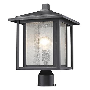 Z-Lite Aspen Outdoor Post Light, Black, Clear Seedy Glass Shade (554PHB-BK)